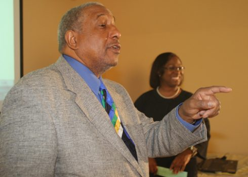 Dr. Bernard Lafayette answers an ACU student's question.