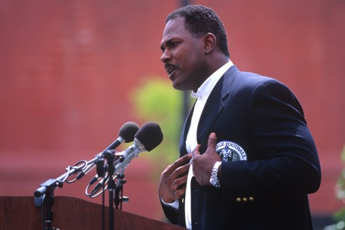Montgomery delivers his induction speech in 1996.