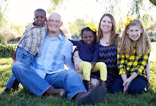 Brandon and Lori Whitaker with their children, from left, James, 5; Jovanika, 6; and Avery, 9.