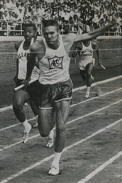 ACU upsets Villanova University at the 1962 Penn Relays as Earl Young beats Frank Budd at the finish line of the 4x400-yard relay.