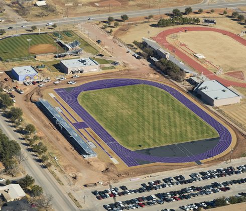 A purple running surface makes new Elmer Gray Stadium easy to spot in this aerial image from late January. The older Gray Stadium can be seen at top right.