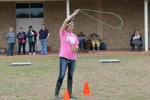 Yvette Torres shows off her roping skills.