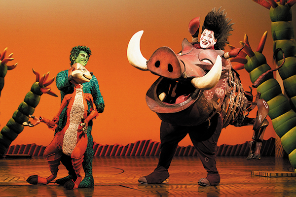 Fred Berman as Timon and Ben Jeffrey as Pumbaa are as close off the Broadway stage as on it.