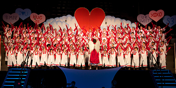 The sophomore class in 2011 portrayed Cupids on Valentine's Day.