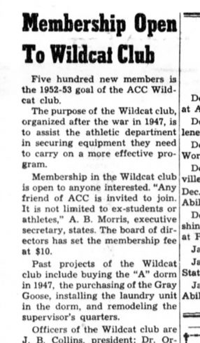 November 1952 Optimist Article Wildcat Club