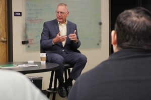Lucado visits with students about writing craft