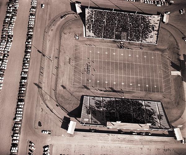 A birds-eye view of Shotwell Stadium in 1961.