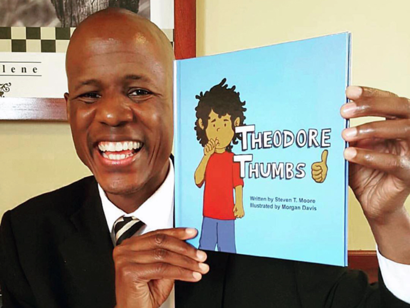 Steven Moore with his book Theodore Thumbs