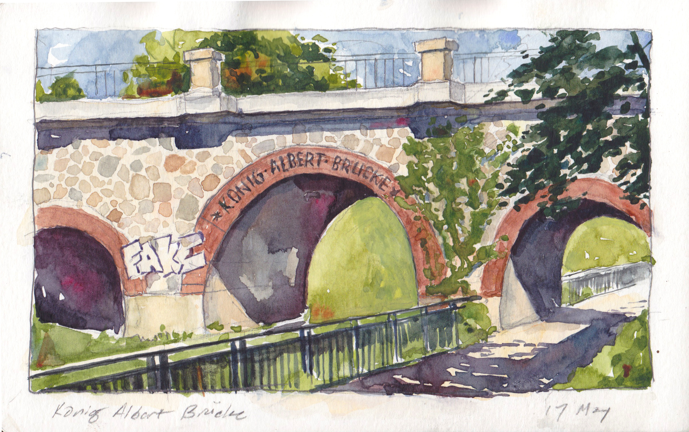 Here's the picturesque Konig Albert Brücke over the Karl Heine Canal. It's on what's basically the San Antonio Riverwalk of Leipzig. This is more of a completed painting than the other stuff–I embedded my stool in a dirt embankment above the sidewalk and painted for a couple of hours.