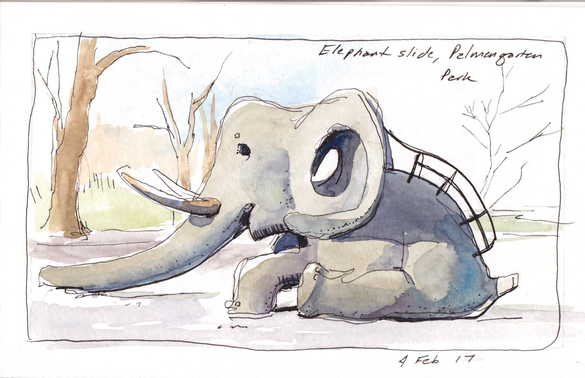 "This is the first drawing of the semester (Micron pen + watercolor on 5"" x 8"" sketchbook). It's a quirky elephant slide at a playground in Palmengarten Park. You basically climb up the elephant's back, go through a hole in his head, and slide down a slick metal trough in his trunk. This drawing was done during a play break for Gabriel. It was really cold, so I had to work quickly."