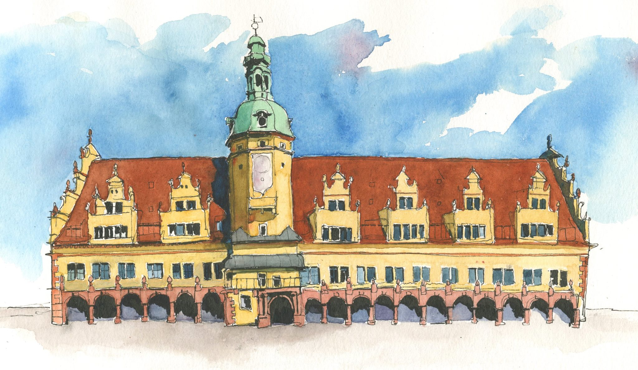 Leipzig's lovely Renaissance-era Altes Rathaus (Old Town Hall). It's a polychromatic sentinel overlooking the market square. I wish I'd done this one without an ink underdrawing, but hopefully it's not too obnoxious, and I like how the sky came out. I left out tons of detail (including the continuous band of text that runs around the whole thing), because if you keep it all it, the thing becomes way too busy. While I was drawing this in ink, a kind German man stopped by and showed me his journal in which we wrote in old-school dip pen (showed me the pen, too). I've found that drawing on the street is one of the best ways to meet locals; I had countless people stop by and chat. Hard for an introvert, but probably a good occurrence nonetheless.