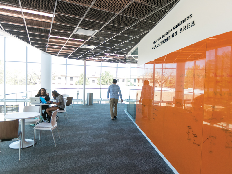Several collaboration areas are available for students to study, work and explore together.