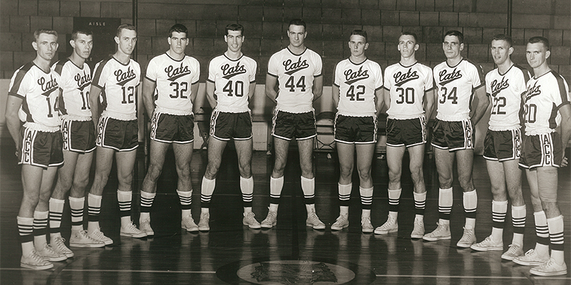 Until this year, the 1959-60 ACU men's team was the last Wildcat basketball squad to play Lipscomb. The two teams squared off Dec. 15, 1959, in Bennett Gym, with ACU winning 84-74. From left: Ken Farris, Buddy Tarver, Mike Allen, Robert McLeod, R.A. Wade, Don Edwards, Joe Porter, Gene Denman, Don Bell, Wayne Shamblin and Ed Gattis.
