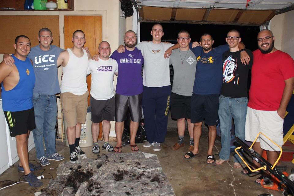 Members of Frater Sodalis social club shaved their heads in support of fellow member Daniel Tapia as he underwent chemotherapy. From left are Shelby Facundo-Moreno, Kyle Bowen, Austin Cooke, Zachary Kolb, Joel Childers,  Ryne Parrish, Jacob Dukes, Nathan Vela, Ryan Gaston and Jaime Torres.