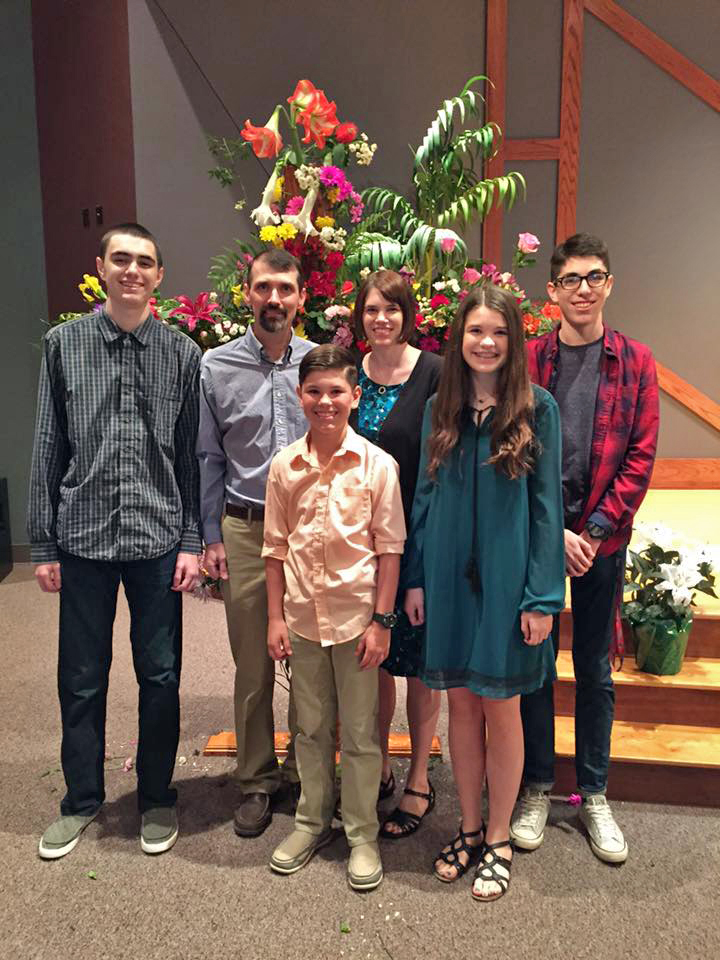 Danny Mercer, preaching minister at Friendswood Church of Christ near Houston, with his family