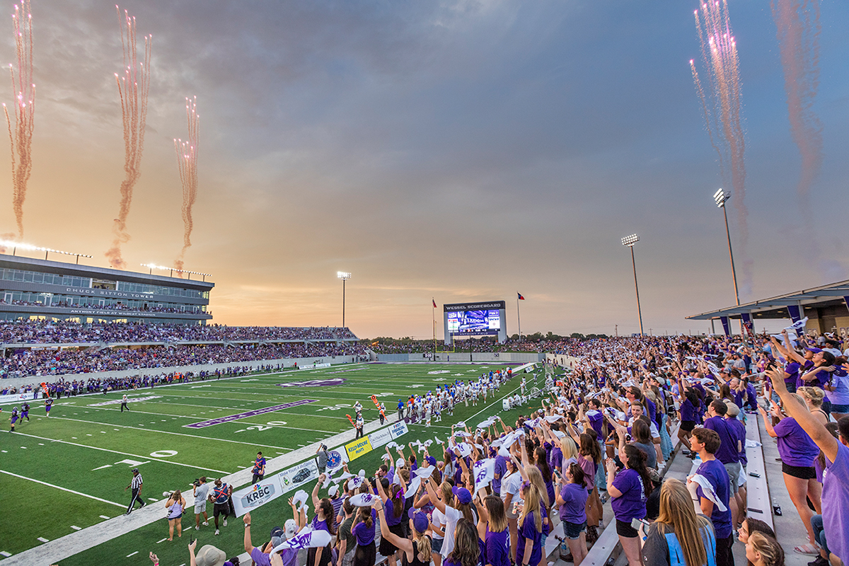 Fireworks signal a Wildcat touchdown in the 24-3 Grand Opening win against Southland Conference rival Houston Baptist University on Sept. 16, 2017.