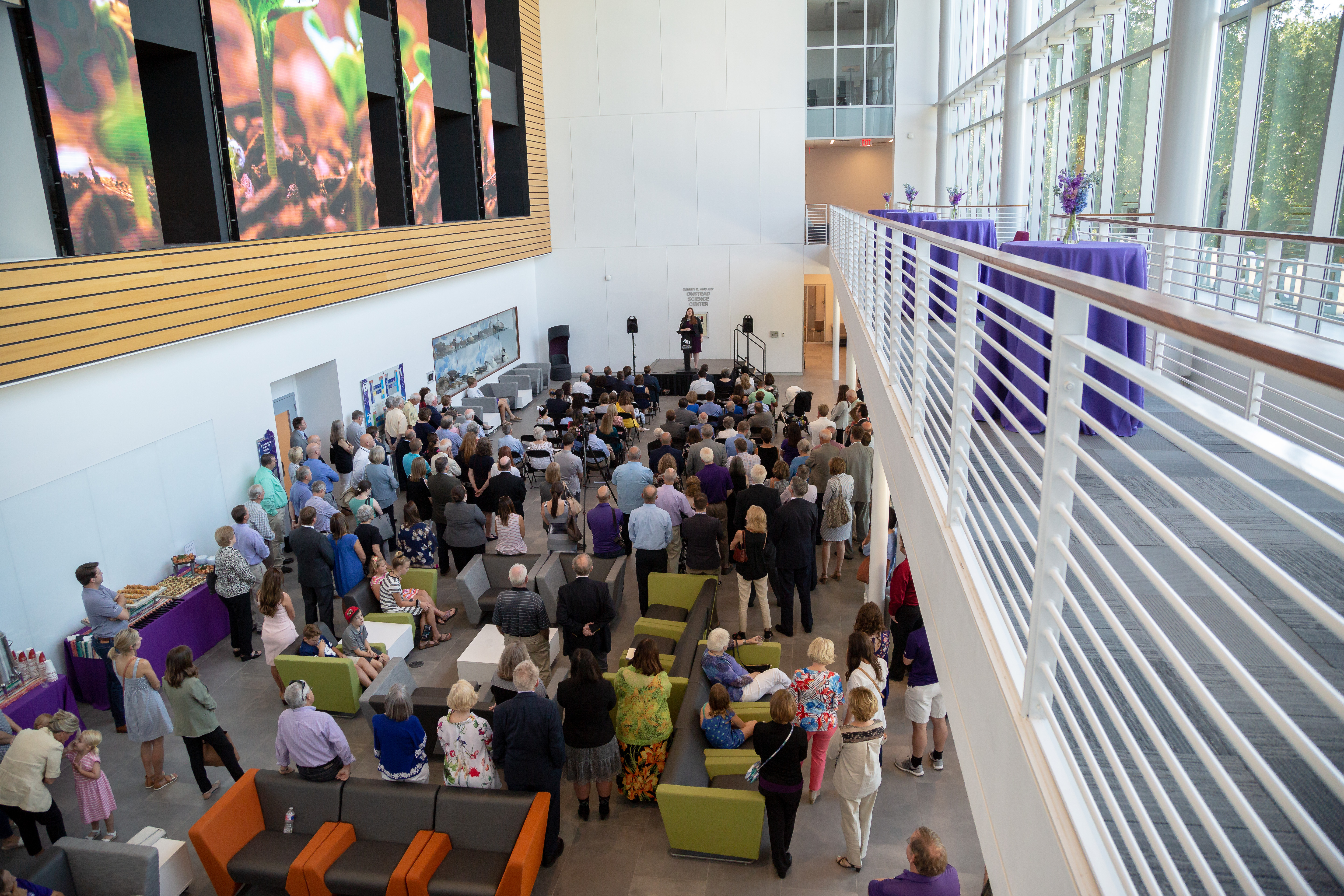 Guests gathered in Anthony Lobby at the new Robert R. and Kay Onstead Science Center for its grand opening celebration Aug. 24.