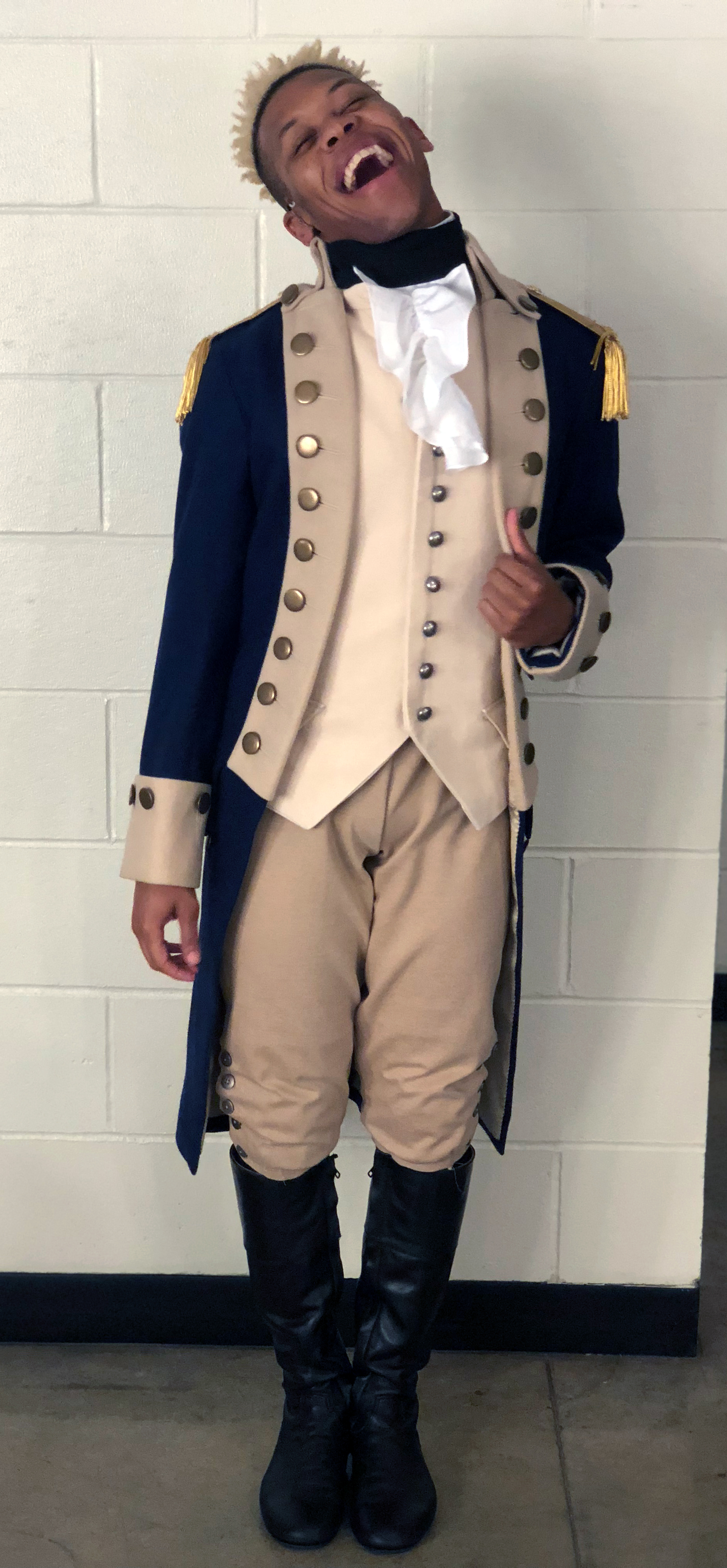 Eean Cochran in his costume for Hamilton