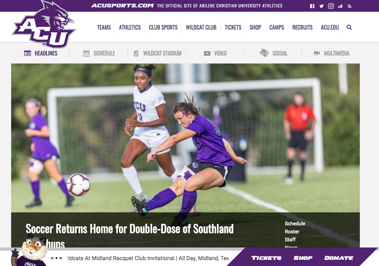 ACU Sports website
