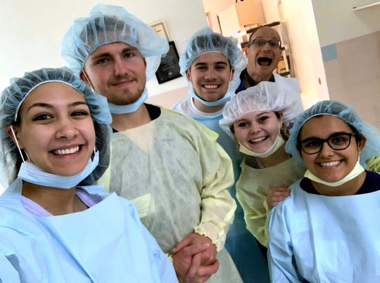 A group of students prepare to assist at a hospital in Haiti. From left are MaKenna Long, Brian Switzenberg, Aleksander Cook, Sabrina Zeiler and Ashley Baca.