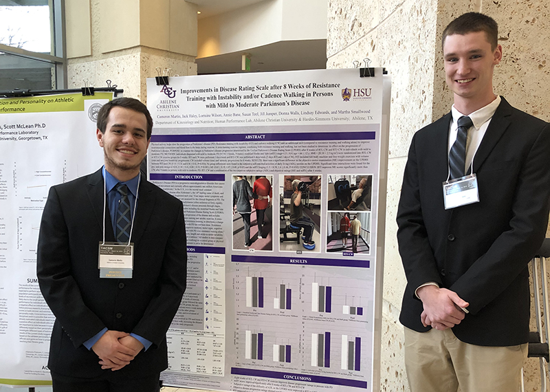 Cameron Martin, left, and Jack Haley also presented research posters at the meeting. All four students are kinesiology majors at ACU.