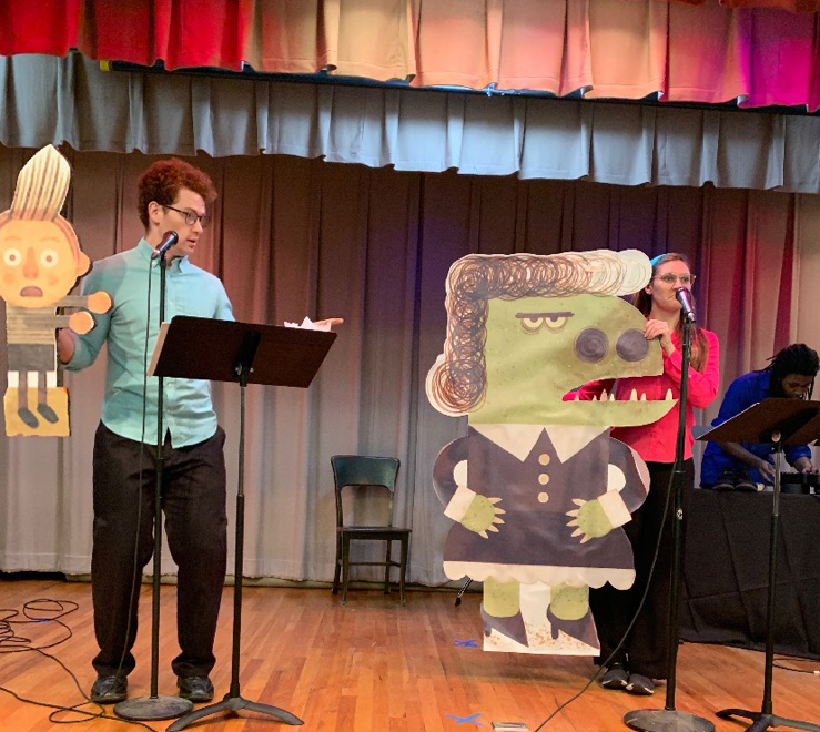 """Griffin Jones (left) and Zula Pryor rehearse for """"My Teacher is a Monster"""" at the 2019 Children's Art and Literacy Festival."""