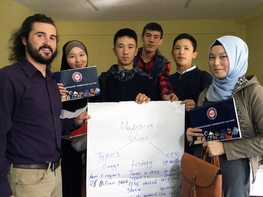 Kyle Yarbrough with his students in Kyrgyzstan.