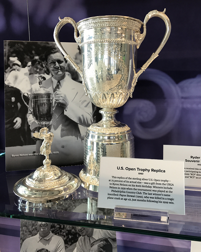 As a gift for his 80th birthday in 1992, Byron Nelson received this replica of the U.S. Open trophy he won in 1939.