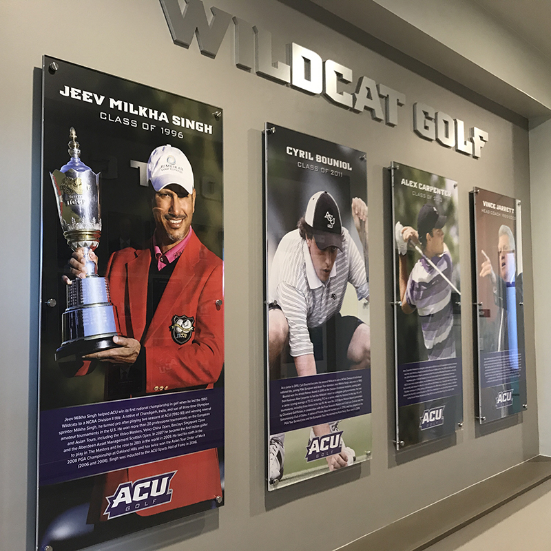 Clubhouse displays recognize the top players and coach in Wildcat golf history: Jeev Milkha Singh ('93), Cyril Bouniol ('11), Alex Carpenter ('13) and the late head coach Vince Jarrett.