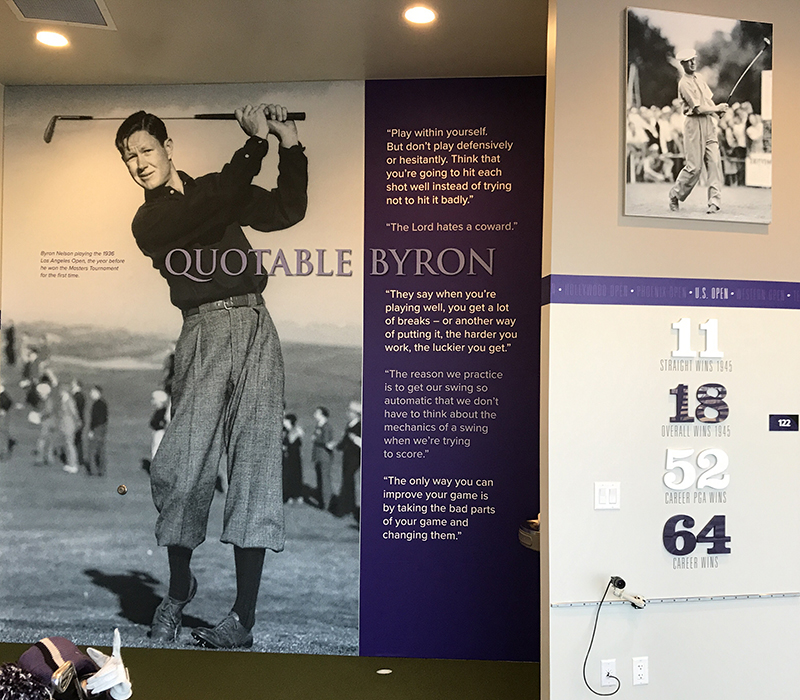 Wildcat golfers are reminded by environmental graphics in the Eric and Danna Oliver Family Training Room of Nelson's career accomplishments, game-management advice and famous swing.