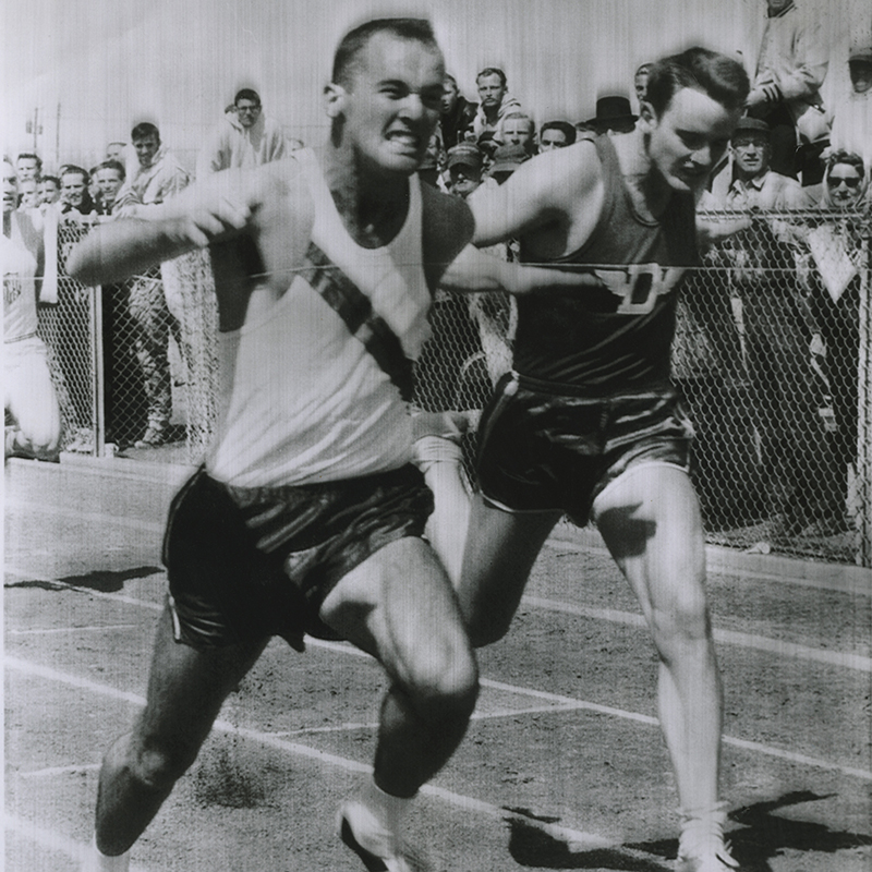 Morrow nips Dave Sime by inches during the 100-yard dash on March 21, 1959, at the West Texas Relays in Odessa. Sime and Morrow dueled numerous times as the world's top two sprinters.